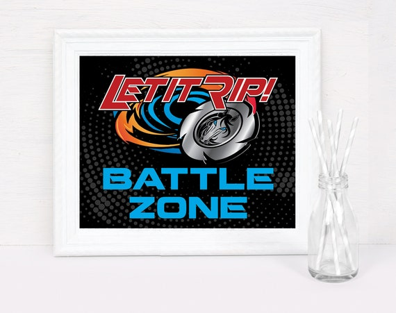 Blade Tournament 8x10 Battle Zone Sign - Bey-Blade Inspired, Party Sign | Pre-Typed INSTANT Download PDF Printable Sign