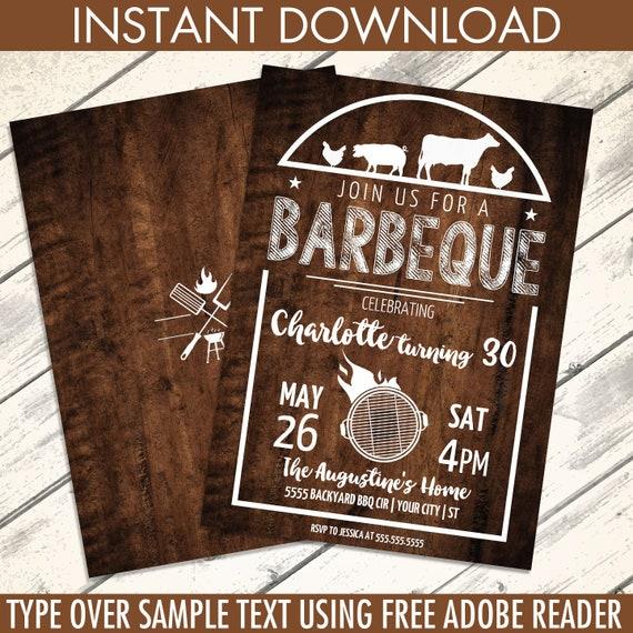 bbq birthday party invitation barbecue invite barbeque birthday