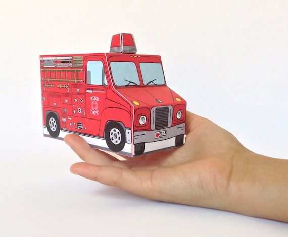 Firetruck Birthday Party Mini Favor Box Fireman Sam Birthday Baby Shower Gift Card Box Instant Download D I Y Printable Pdf By Simplyeverydayme Catch My Party