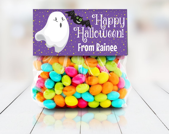 """Ghost & Bat Treat Bag Topper - Halloween Party,Halloween Favor, 4"""" Treat Topper, Self-Editing 