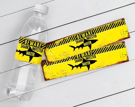 Shark Water Bottle Label - Shark Party Water Bottle Label, Water Bottle Wrapper, Shark Zone | DIY INSTANT Download PDF Printable