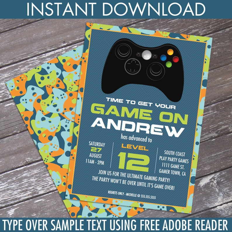 graphic regarding Free Printable Video Game Party Invitations named Video clip Sport Birthday Social gathering Invitation - Blue Camo - On your own Customise EDITABLE Words and phrases At Property - Immediate Down load D.I.Y. Printable PDF Package