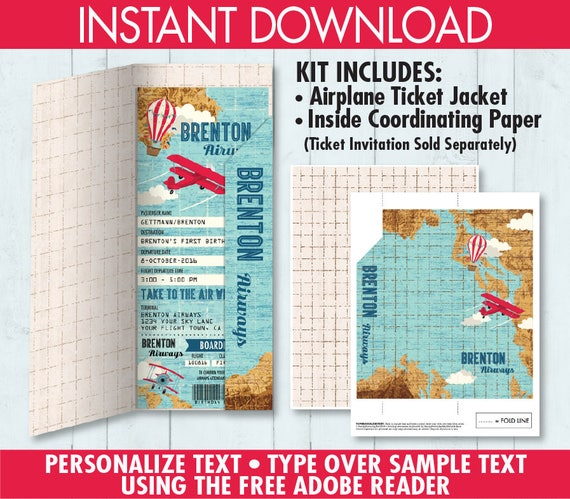 Boarding Pass Jacket For Invitation Airline Ticket Cover Etsy