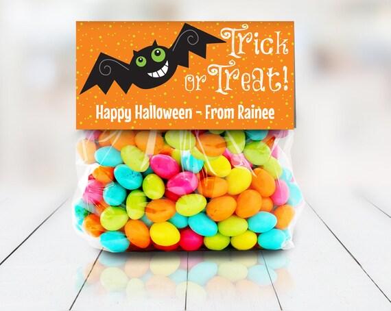 "Bat Trick or Treat Baggie Toppers - Halloween Party, Halloween Favor, 4"" Treat Bag Topper | Editable Instant Download DIY Printable PDFs"