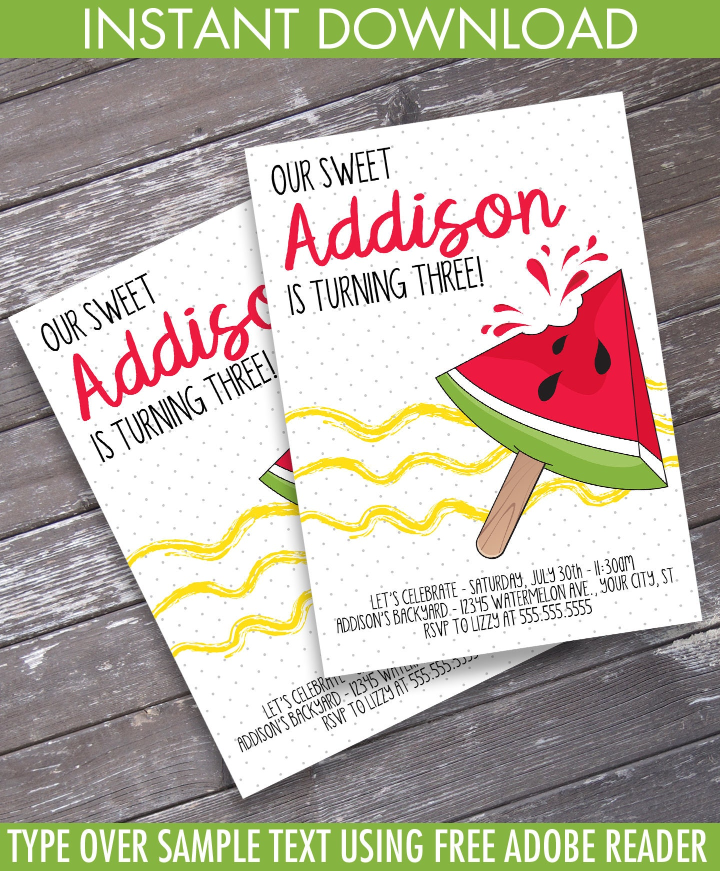Melon Party Invitation - One in a Melon Birthday, BBQ party, Pool ...
