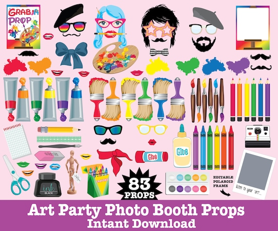 Art Party Photo Booth Props - Rainbow Party, Artist Party, Painting Party, Art Birthday - Instant Download PDF - 83 DIY Printable Props