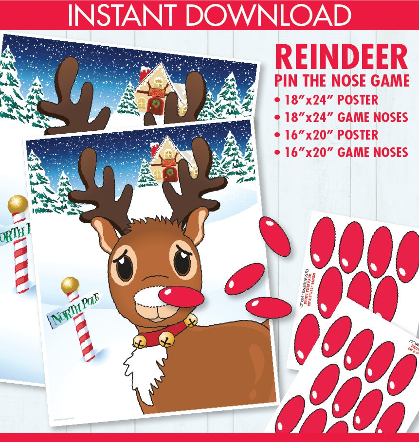 picture about Pin the Nose on Rudolph Printable called Reindeer Celebration - Pin the Nose Video game - Reindeer Online games
