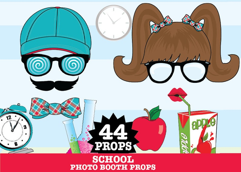 44 DIY Printable Props Teacher Gift INSTANT Download PDF School Photo Booth Props College Party Back to School