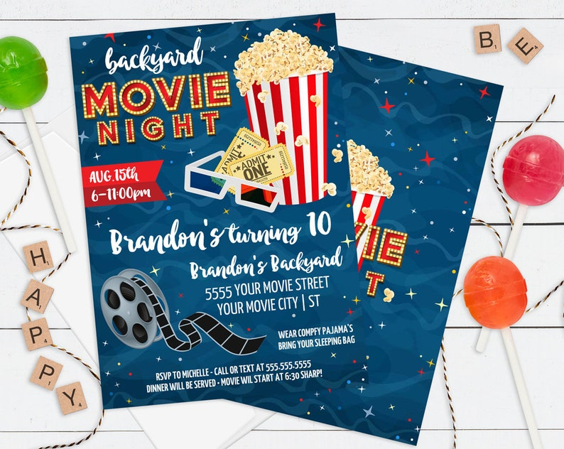 graphic about Movie Birthday Party Invitations Printable Free named Video Bash Invitation - Backyard garden Video clip Evening, Video clip Birthday Get together Invite, Online video Bash Editable Words - Do it yourself Quick Down load PDF Printable