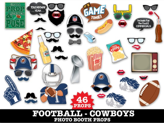 Cowboys Football Photo Booth Props - Bowl Party- Football Party - Instant Download PDF - 46 DIY Printable Props