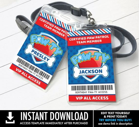 Paw Ty Pass Id Badges Paw V I P Access Pass Dog Birthday