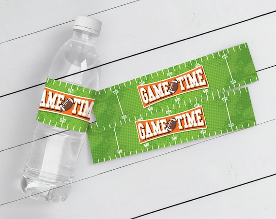 Football Party Water Bottle Wrap Label - Football Birthday, Tailgate, Super-Bowl,Bowl Party | Instant Download PDF Printable