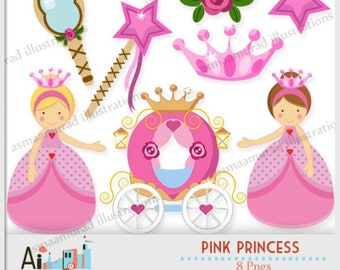 Fairytale princess clipart Fairy Tale Princess Clipart, characters, princess carriage, tiara, frog prince, princess castle, planner stickers