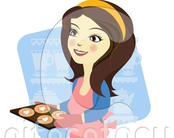 Custom illustration Portrait Character Woman with Cupcake Baker Personalised Character illustration Vector Bakery Shop Avatar