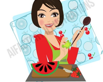 Character Woman Clip Art,  Personalised Character, Vector Graphics, Commercial Clipart, Custom Illustration Portrait Cooking girl Logo