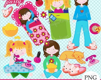 slumber party clipart sleepover girls clipart , png, sleeping bag, popcorns, pajama party clip art, movie night  commercial use digital