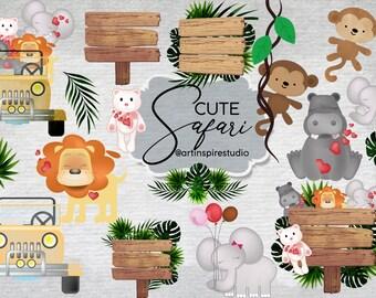 Safari Watercolor Clipart Lion Elephant Hippo Bear Monkey Jungle Tropical leaves Wooden Sign plank wood banner Clip Art Digital Download
