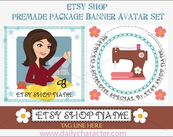 Sewing girl Premade Etsy Banner and Avatar customized - RESERVED