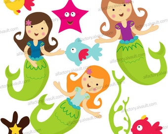 Mermaid Clipart commercial use, Under the sea Ocean Clip art PNG graphics Cute Little mermaid fish Coral Starfish graphics- CL012