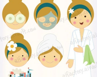 spa day clip art, spa party clip art, girl in robe, transparent , png, clipart, makeup face clipart, makeup, zen, graphics, vector, CU