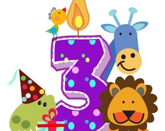 Birthday Candle Custom Numbers Clipart Numbers Digits Clipart Zoo Animals Clip Polka Dots Confetti birthday party clip art, cute Png graphic