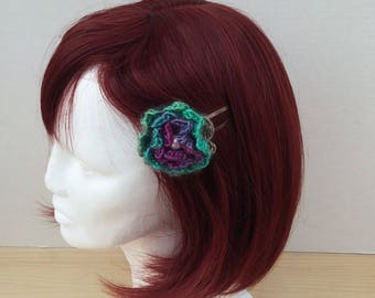 Hair Clips with a Purple and Teal Crocheted Flower