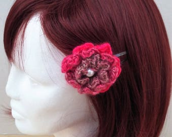 Hair Clips with a Pink Crocheted Flower