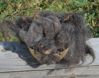 Brenna's Black/Brown Uncarded Wool - 4 ounces