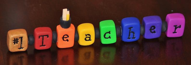 Clay Rainbow Teacher Sign  1 Teacher Sign  Teacher Gift  image 0