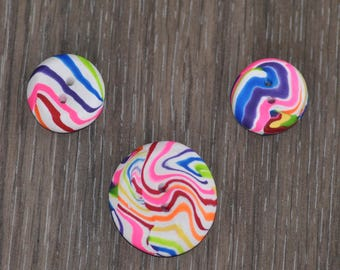 Hand Made Polymer Clay Rainbow Swirled Buttons - Set of 3 OOAK Handmade ~ Multi Sized Set