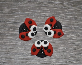 3/4 inch Ladybug Buttons - Set of 3