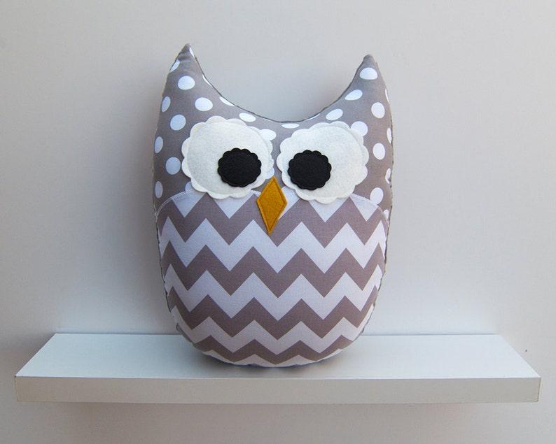 Chevron Pillow Large Plush Owl Zig Zag Minky Gray White image 0