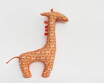 Stuffed Animal Plush Giraffe Softie Orange Ikat