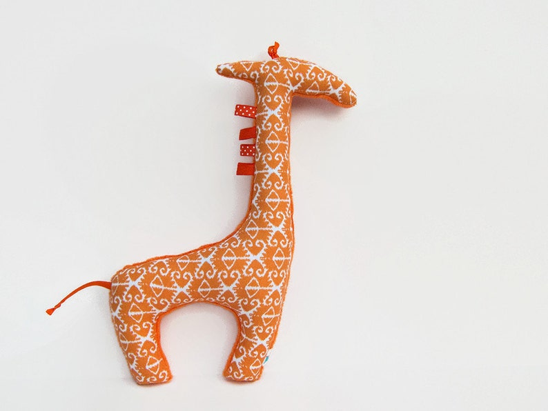 Stuffed Animal Plush Giraffe Softie Orange Ikat image 0