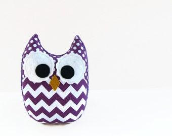 Purple Chevron Plush Owl Baby Toy Violet Minky Softie Mini Pillow