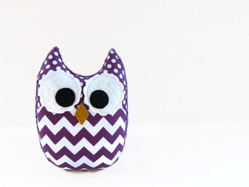 Purple Chevron Plush Owl Baby Toy Violet Minky Softie Mini image 0