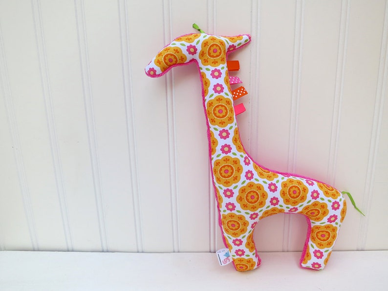 Plush Giraffe Stuffed Animal Floral Orange Pink image 0