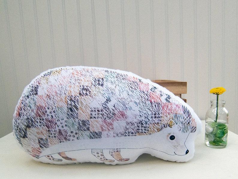 Hedgehog Pillow Plush Soft Toy Woodland Nursery Decor Ready to image 0