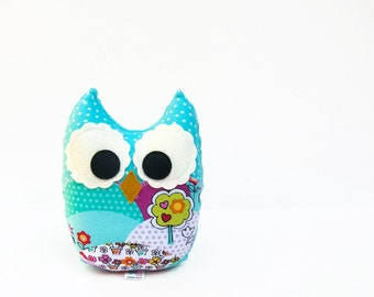 Plush Owl Softie Baby Toy Small Owl Pillow Turquoise, Aqua, Red, Pink, Purple