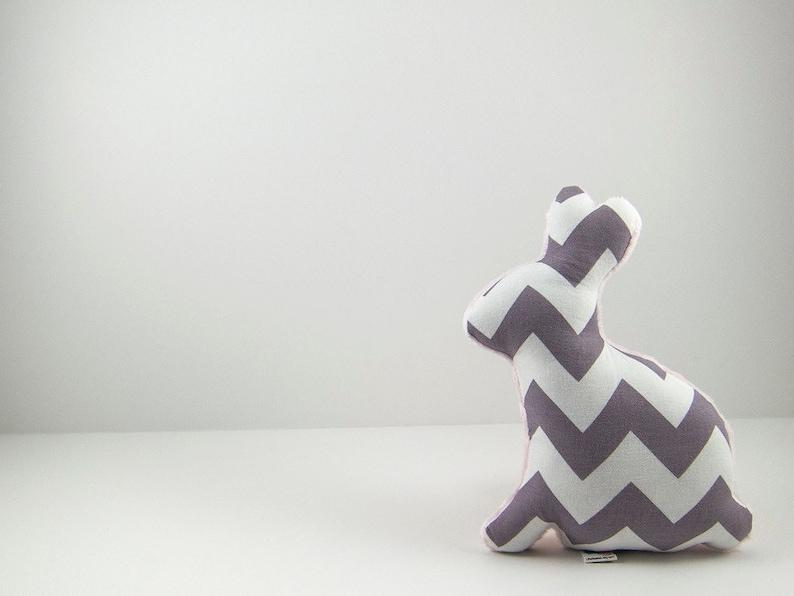 Plush Gray Chevron Easter Bunny Stuffed Animal Minky Baby Toy image 0