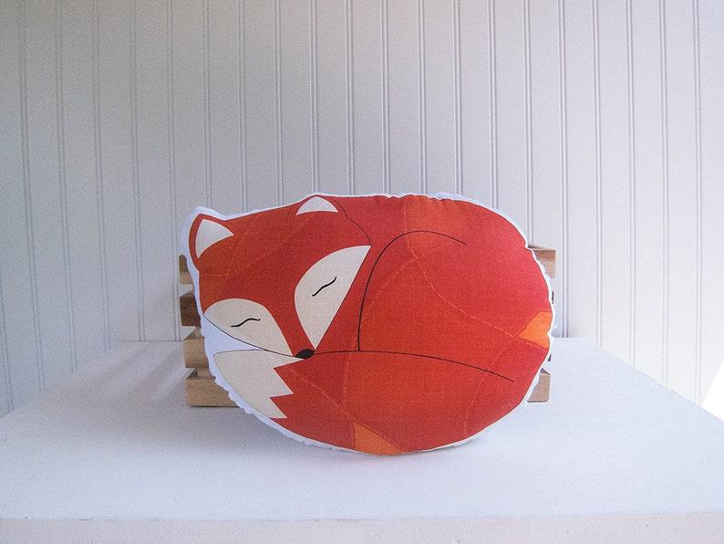 Fox Pillow Plush Sleeping Fox Woodland Nursery Decor Ready to image 0