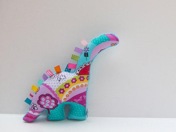 Plush Dinosaur Stuffed Animal Baby Girl Toy Turquoise Pink Etsy