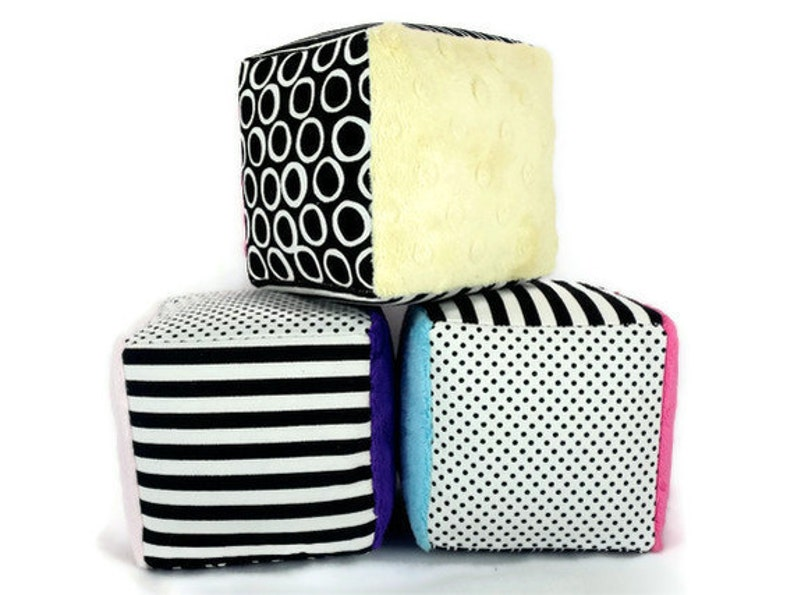 Minky Fabric Soft Blocks  Plush Stuffed  Black and White Polka image 0