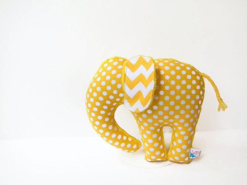 Yellow Polka Dot Chevron Elephant Softie Plush Animal image 0