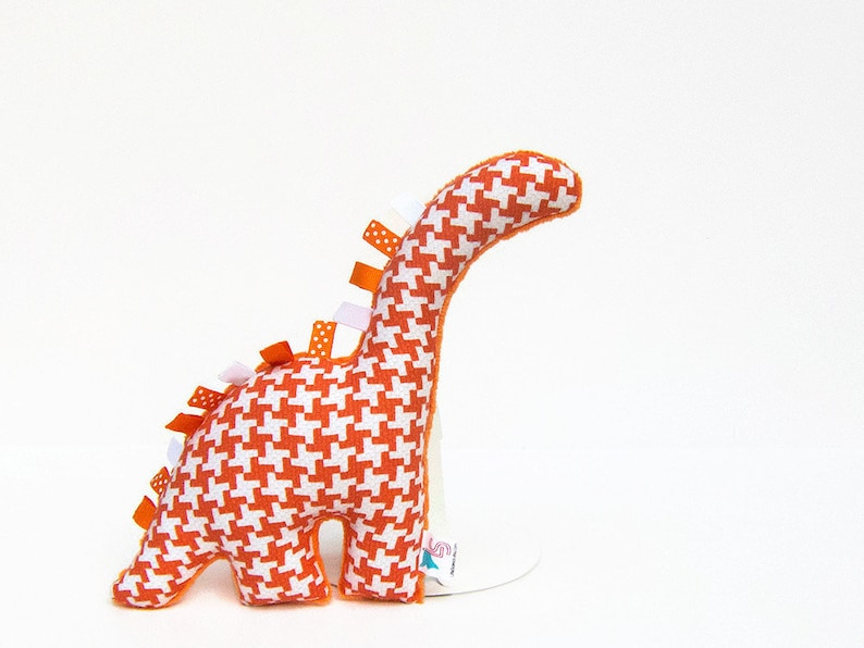Stuffed Animal Dinosaur Baby Toy Orange Houndstooth image 0