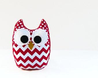 Red Chevron Plush Owl Baby Toy Minky Softie Mini Pillow Ready to Ship!