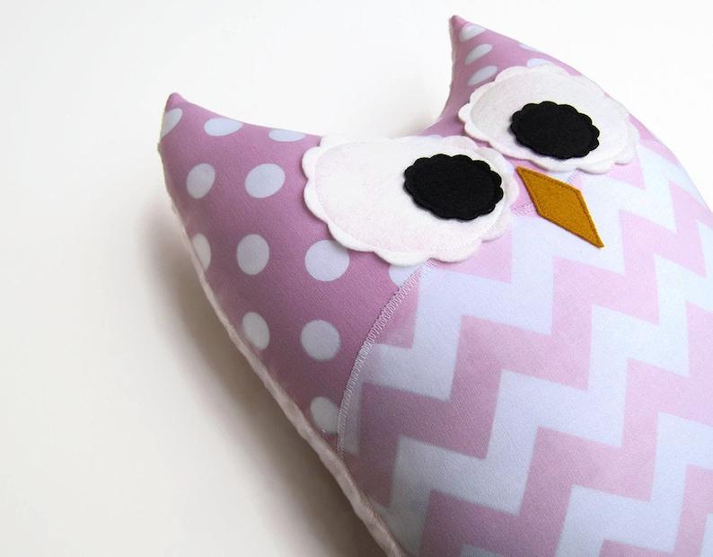 Soft Pink Chevron Owl Pillow Light Pink Baby Pink Nursery image 0