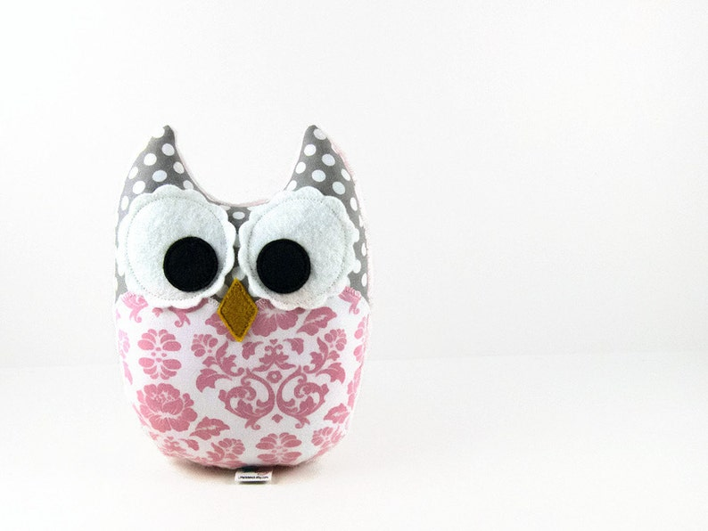 Light Pink Damask Gray Owl Plush Baby Toy Stuffed Animal image 0