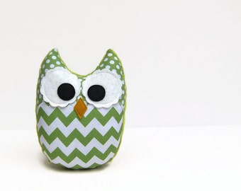 Green Chevron Plush Owl Stuffed Toy Jade Nursery Decor Ready to Ship
