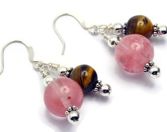 12mm Pink Tiger Eye Hook Earrings
